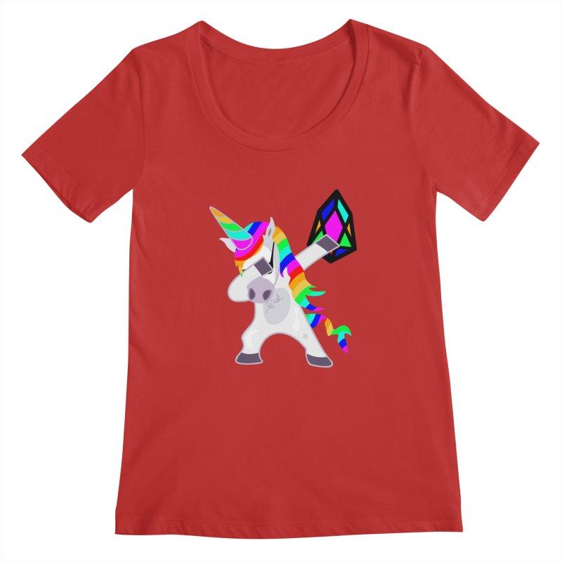 YM - Dabing Unicorn Women's Regular Scoop Neck by My pixEOS Artist Shop