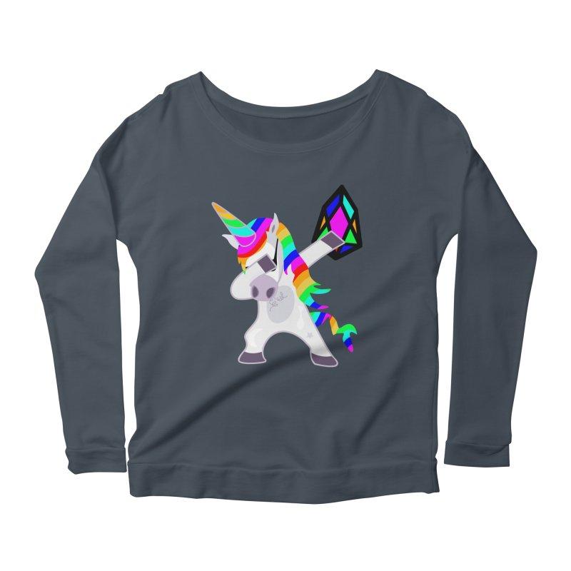 YM - Dabing Unicorn Women's Scoop Neck Longsleeve T-Shirt by My pixEOS Artist Shop