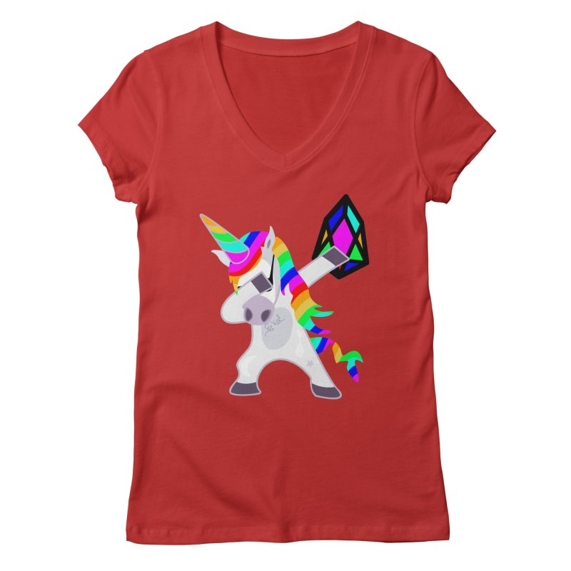 YM - Dabing Unicorn Women's Regular V-Neck by My pixEOS Artist Shop