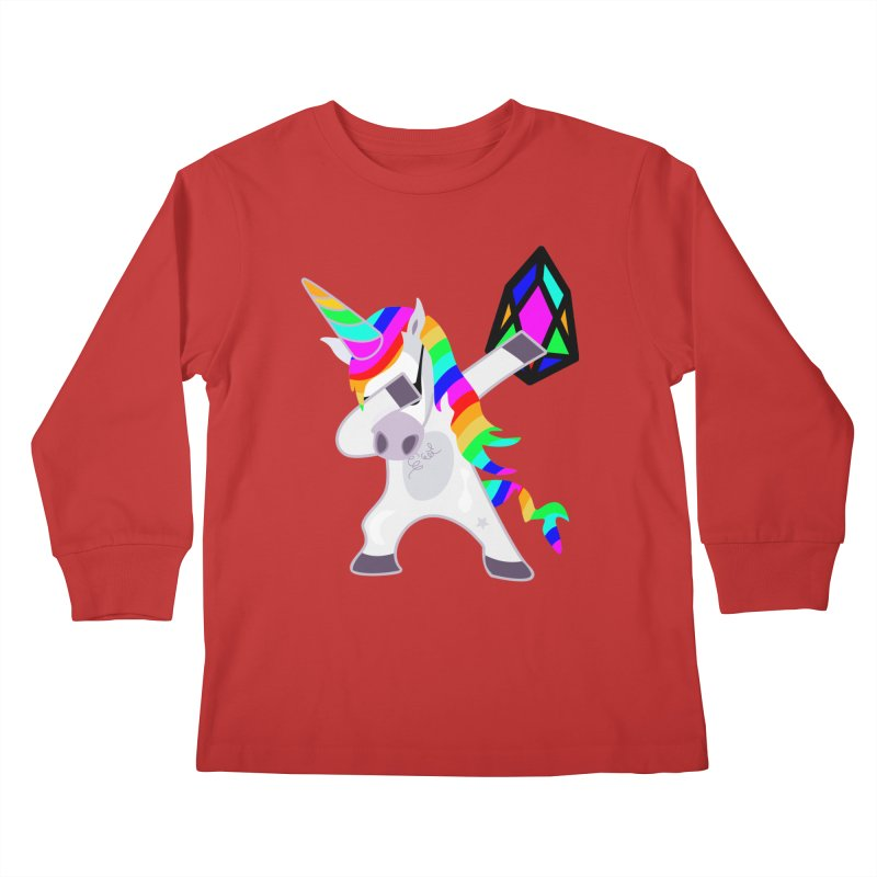 YM - Dabing Unicorn Kids Longsleeve T-Shirt by My pixEOS Artist Shop
