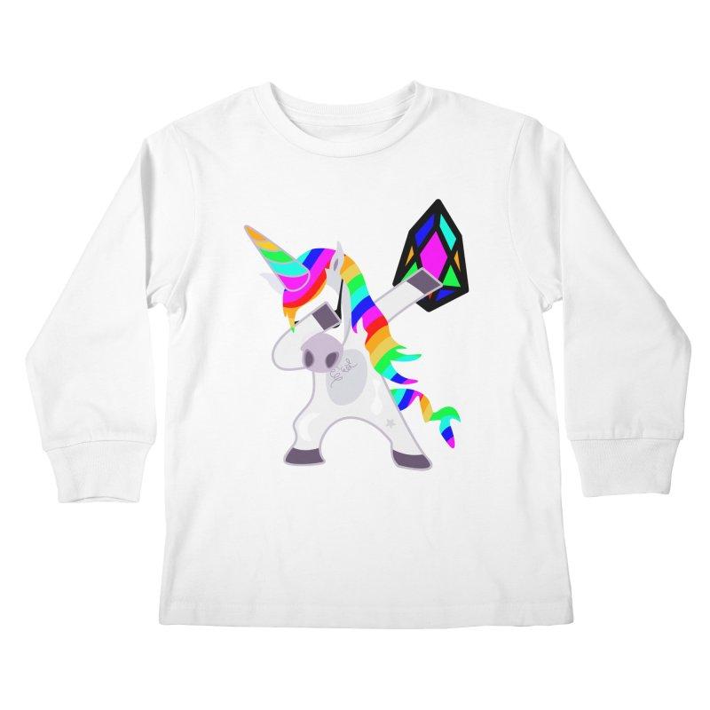 YM - Dabing Unicorn Kids Longsleeve T-Shirt by My pixEOS Artist Shop