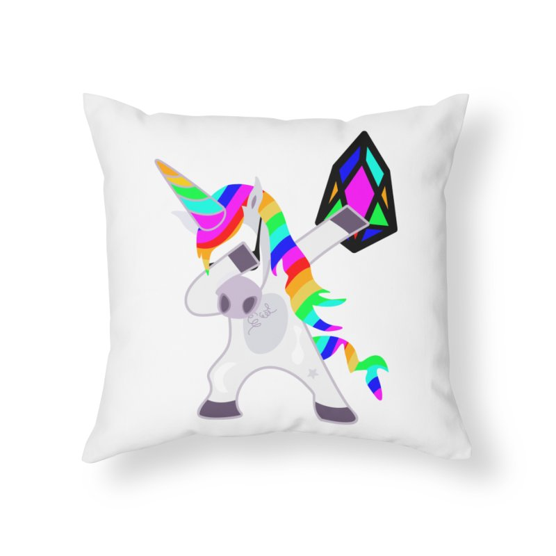 YM - Dabing Unicorn Home Throw Pillow by My pixEOS Artist Shop