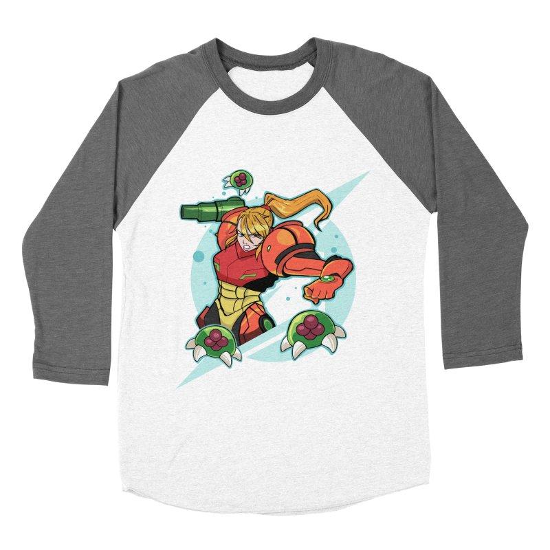 """Samus - """"I am NO MAN!"""" Men's Baseball Triblend Longsleeve T-Shirt by Pixlsugr!"""