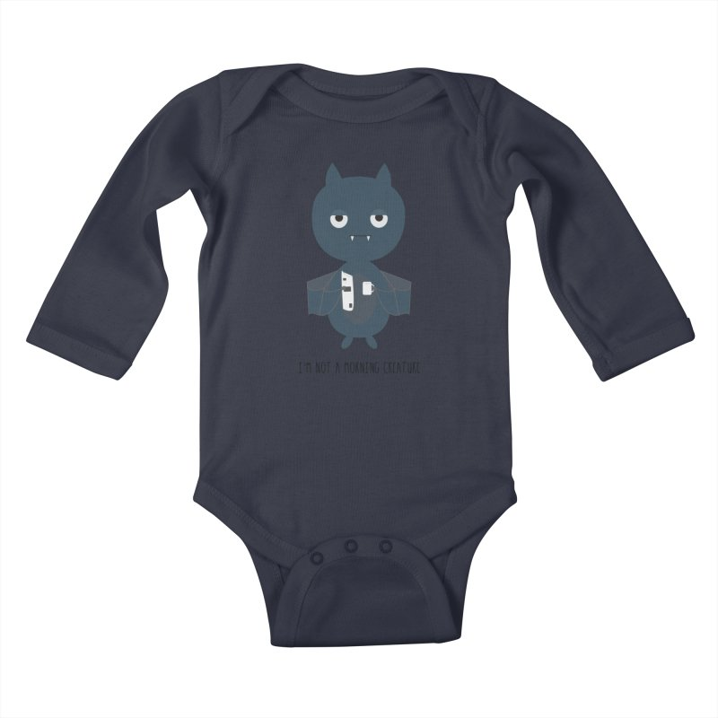 I'm not a morning creature Kids Baby Longsleeve Bodysuit by planet64's Artist Shop
