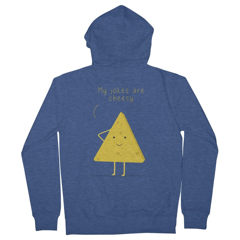 My jokes are cheesy Men's French Terry Zip-Up Hoody by planet64's Artist Shop