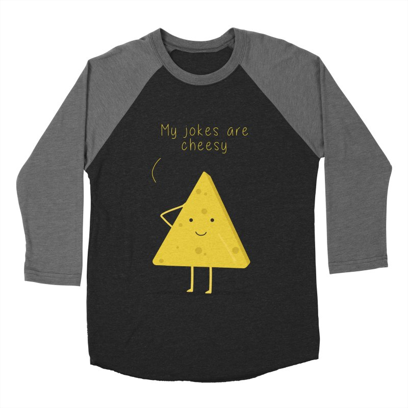 My jokes are cheesy Men's Baseball Triblend Longsleeve T-Shirt by planet64's Artist Shop