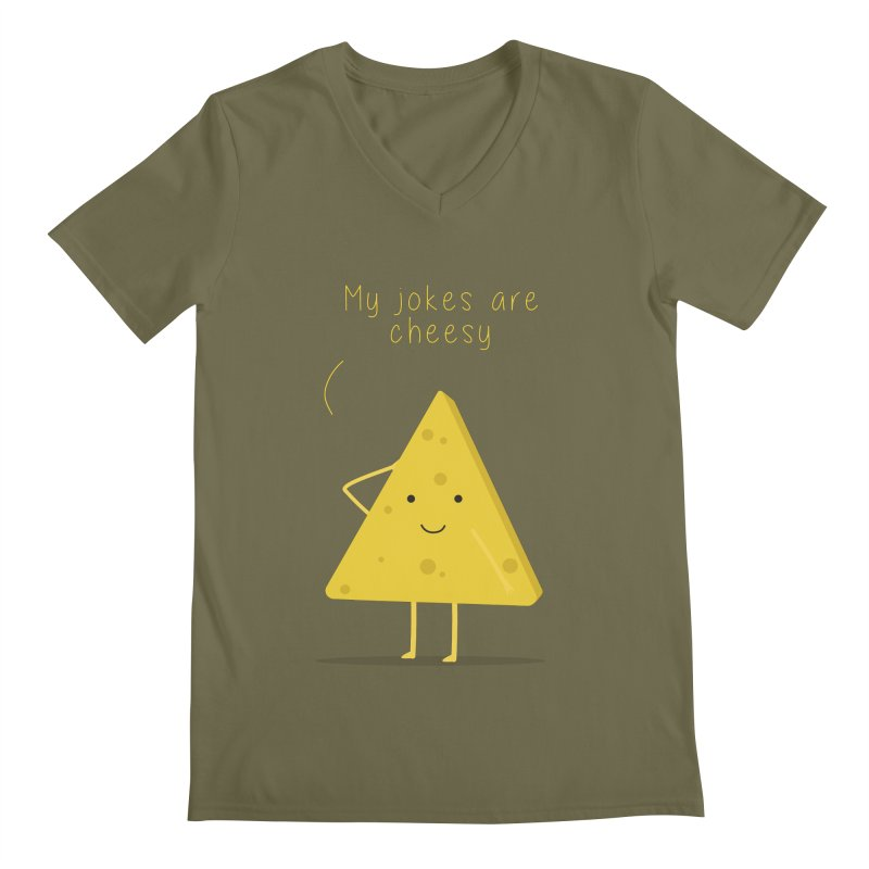 My jokes are cheesy Men's Regular V-Neck by planet64's Artist Shop