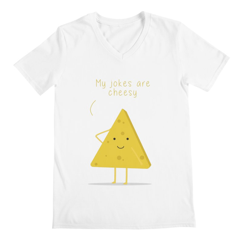 My jokes are cheesy Men's Regular V-Neck by planet64's Artist Shop