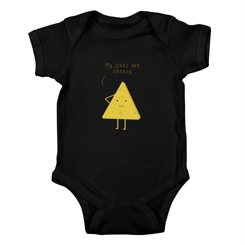 My jokes are cheesy Kids Baby Bodysuit by planet64's Artist Shop