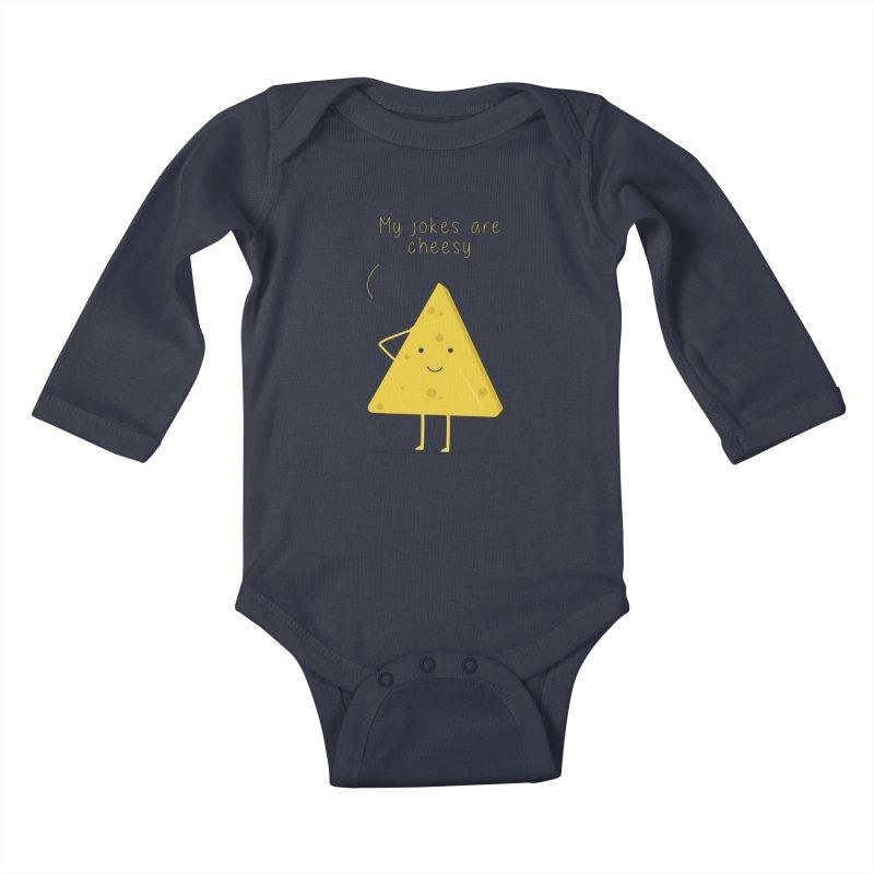 My jokes are cheesy Kids Baby Longsleeve Bodysuit by planet64's Artist Shop