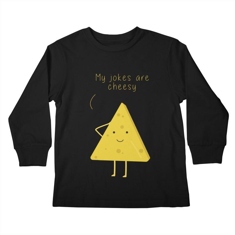 My jokes are cheesy Kids Longsleeve T-Shirt by planet64's Artist Shop