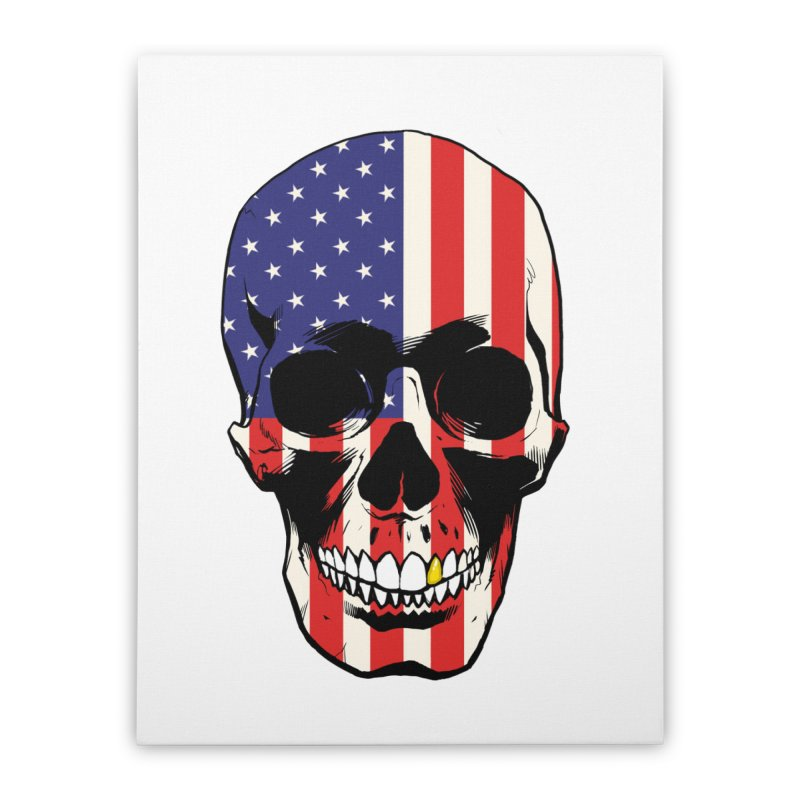 Stars & Stripes Home Stretched Canvas by Planet Henderson's Artist Shop