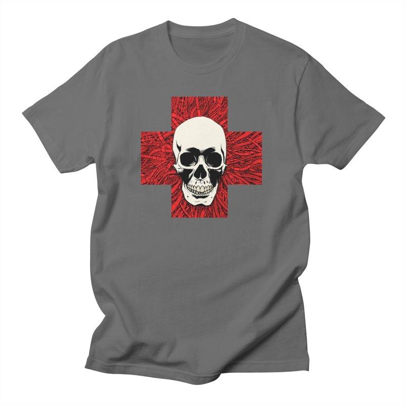 Skull Wire Cross Men's T-Shirt by Planet Henderson's Artist Shop