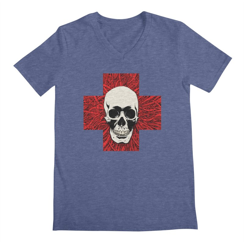 Skull Wire Cross Men's Regular V-Neck by Planet Henderson's Artist Shop