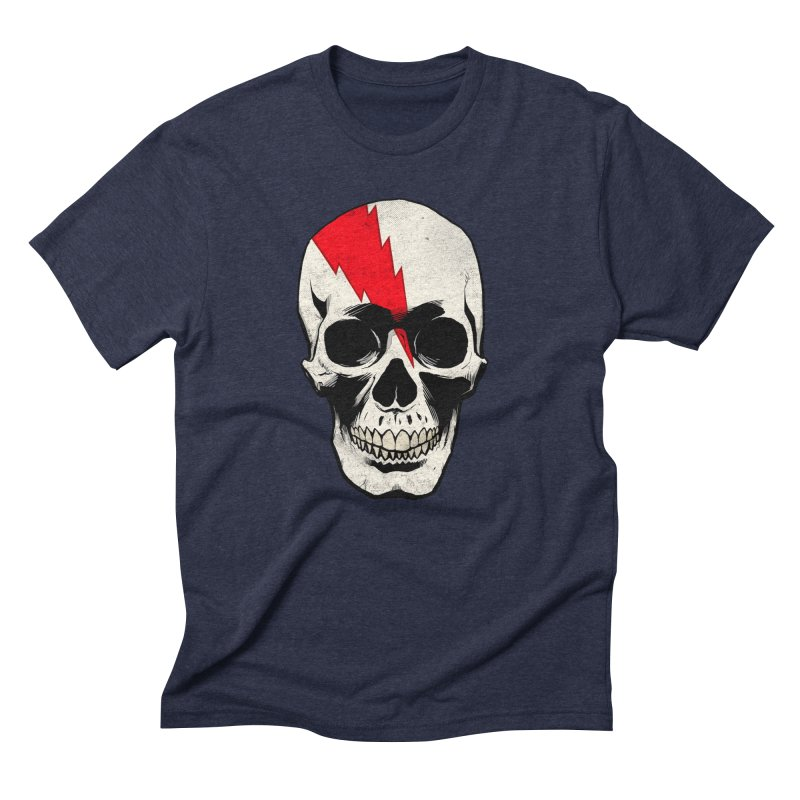 Bolt Skull (Version A) in Men's Triblend T-Shirt Navy by Planet Henderson's Artist Shop