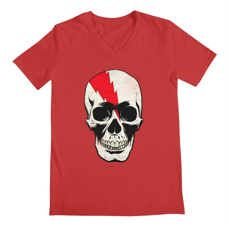 Bolt Skull (Version A) Men's Regular V-Neck by Planet Henderson's Artist Shop