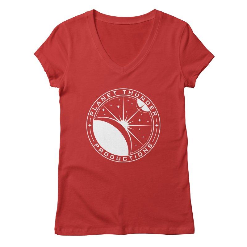 Planet Thunderpatch - WHITE Women's Regular V-Neck by Planet Thunder Shop Stop