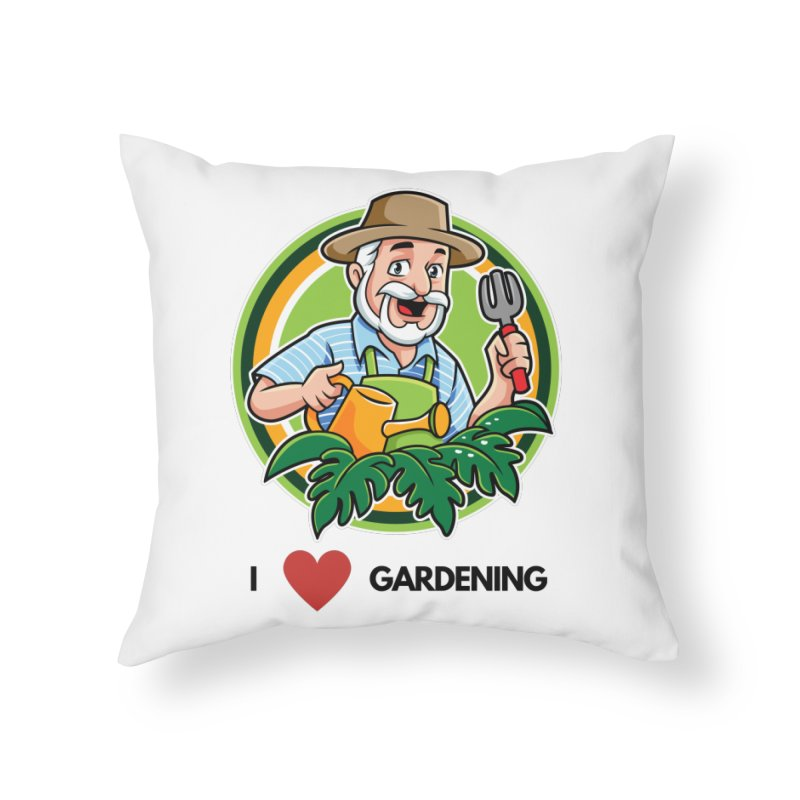 I LOVE GARDENING Home Throw Pillow by Plantophiles's Shop