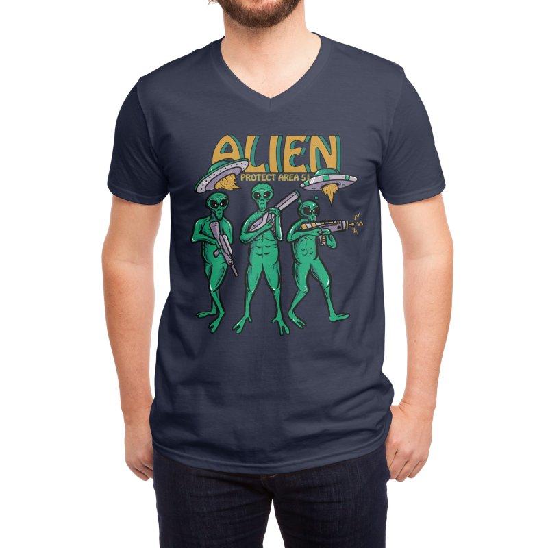 Alien Protect Area 51 Men's V-Neck by plasticghost's Artist Shop