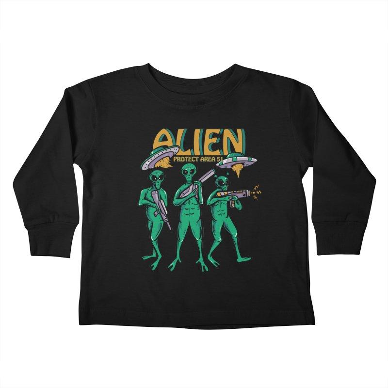 Alien Protect Area 51 Kids Toddler Longsleeve T-Shirt by plasticghost's Artist Shop