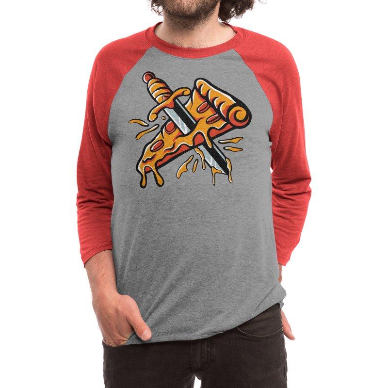 stabbed pizza Men's Longsleeve T-Shirt by plasticghost's Artist Shop
