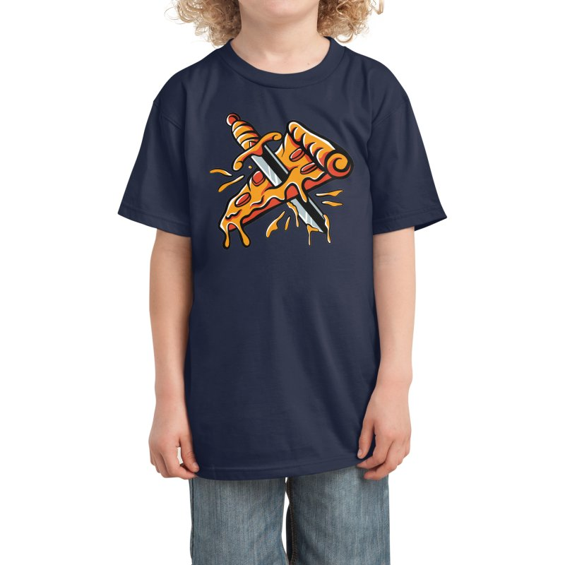 stabbed pizza Kids T-Shirt by plasticghost's Artist Shop