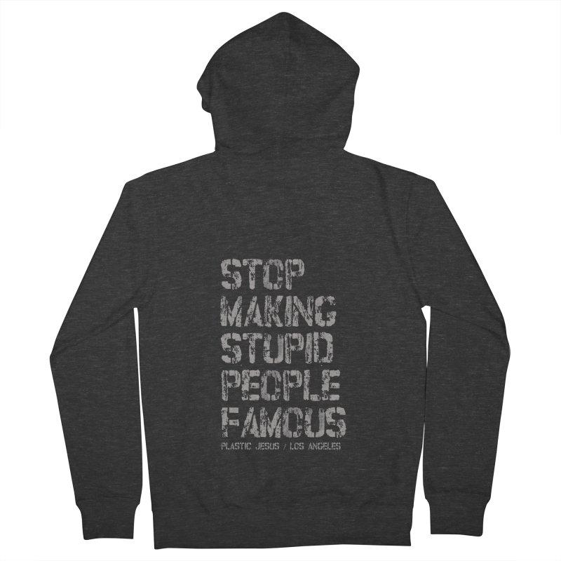 Stop artwork back hoodie in Men's Zip-Up Hoody Smoke by Plastic Jesus - official apparel
