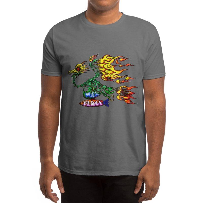 Dragon, Retro style anti war art by Ploppi. Men's T-Shirt by Original art by artist Ploppi