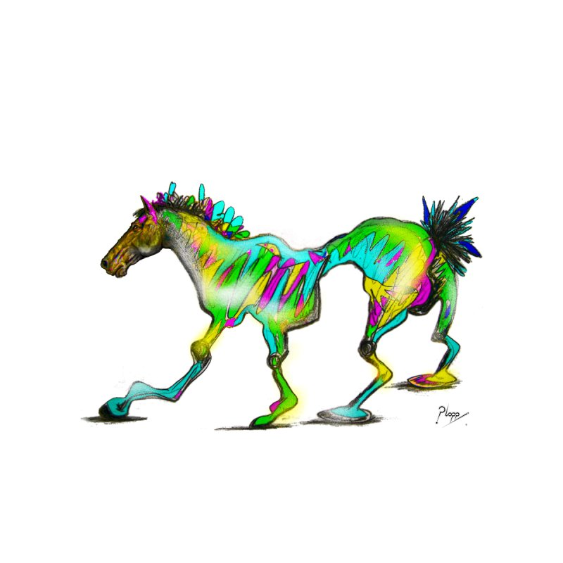 Colorful Wonky Horse Men's T-Shirt by Original art by artist Ploppi