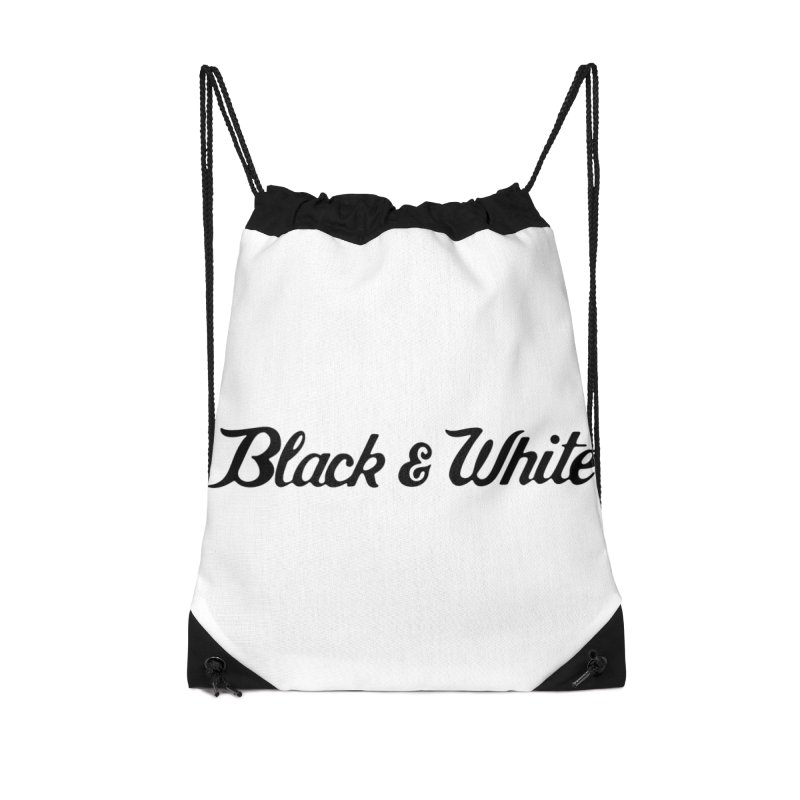 Black & White Accessories Drawstring Bag Bag by pluko's Artist Shop