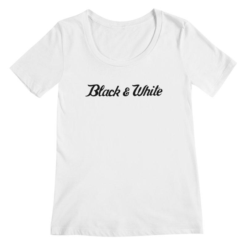 Black & White Women's Regular Scoop Neck by pluko's Artist Shop