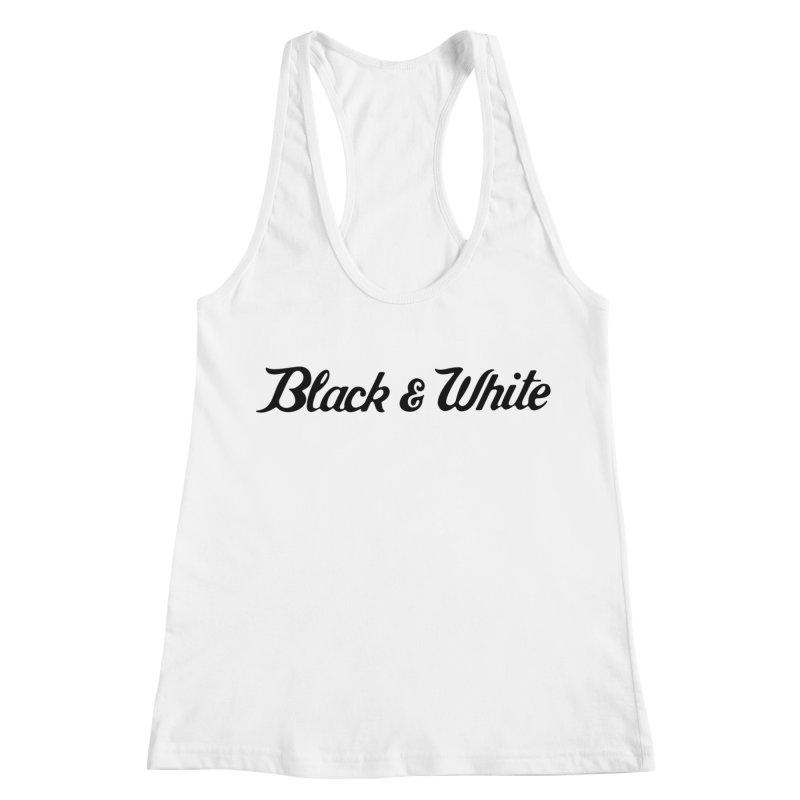 Black & White Women's Racerback Tank by pluko's Artist Shop