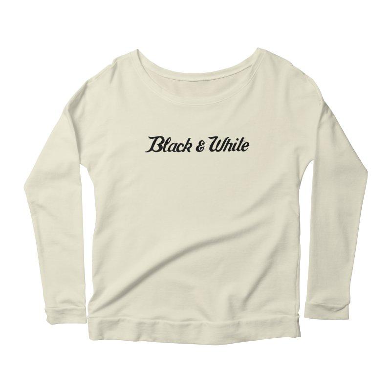 Black & White Women's Scoop Neck Longsleeve T-Shirt by pluko's Artist Shop