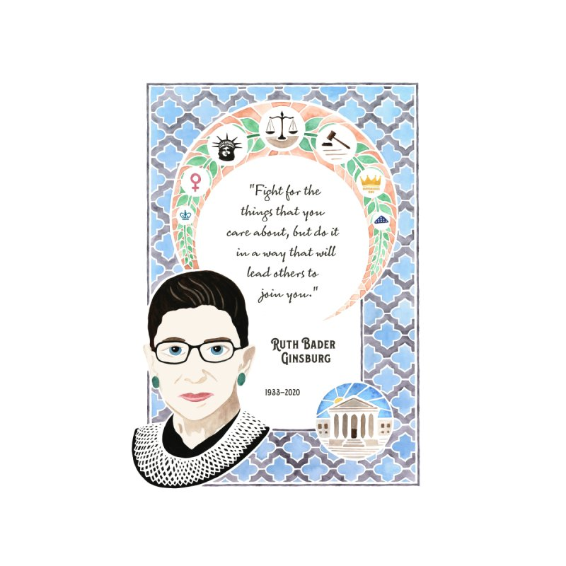 Ruth Bader Ginsburg Tribute Watercolor Home Blanket by Plum Grove Studio's Artist Shop