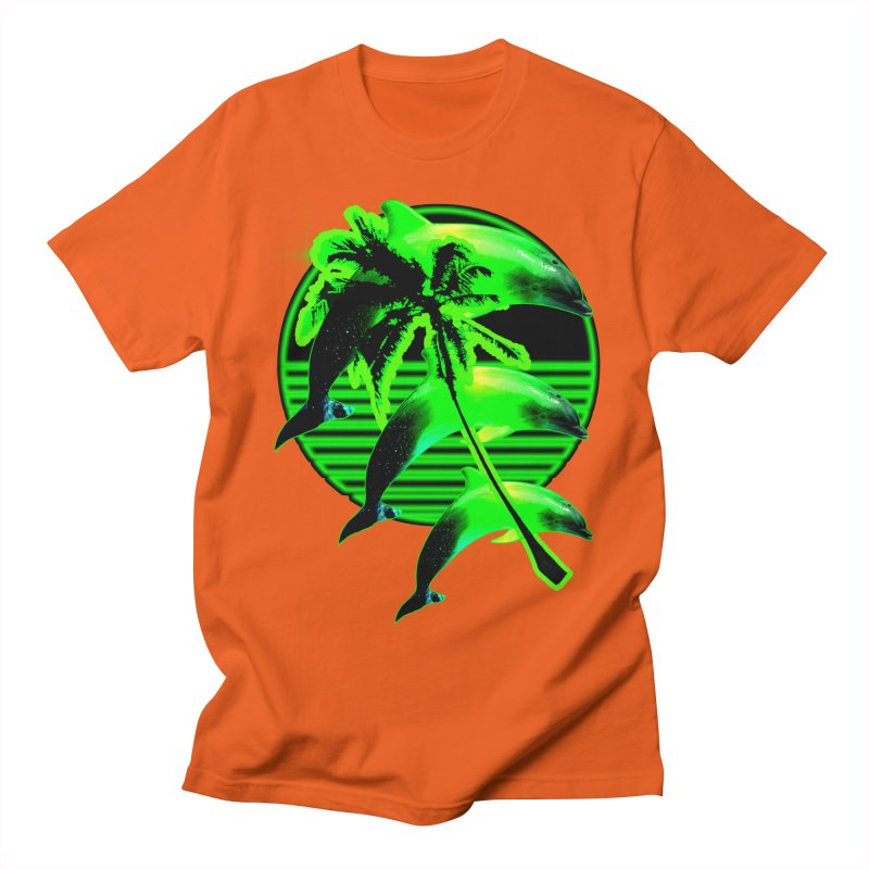 Dolphin Eclipse Green Sunset Tropical T Men's T-Shirt by Poizon Brand