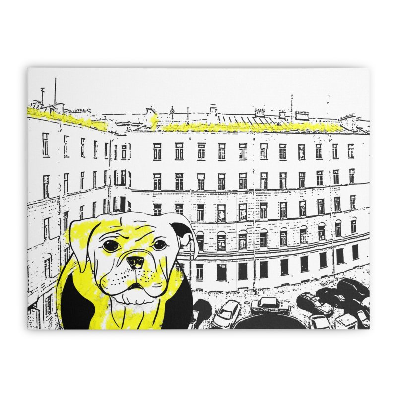 bulldog Home Stretched Canvas by cutearts