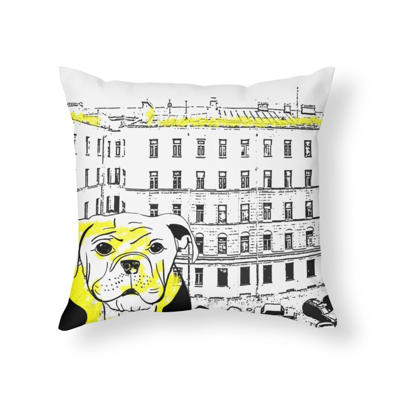 bulldog Home Throw Pillow by cutearts