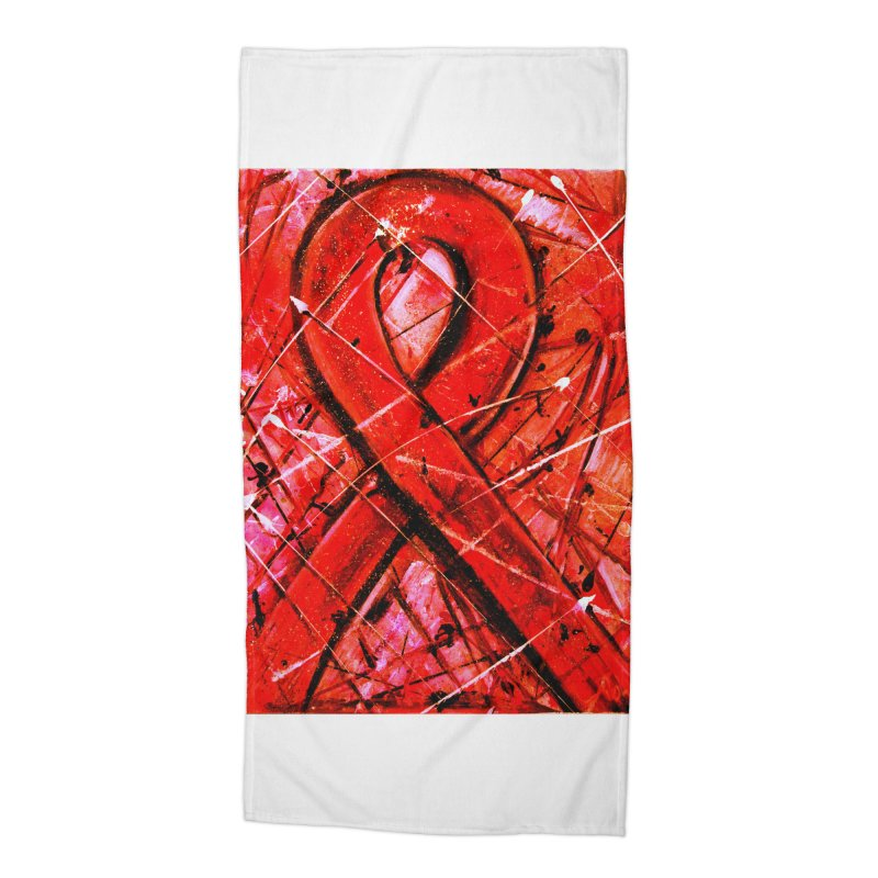 Aids Ribbon Accessories Beach Towel by Art By Poli