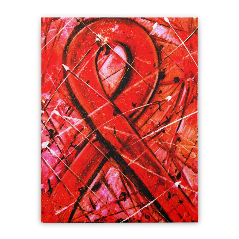 Aids Ribbon Home Stretched Canvas by Art By Poli