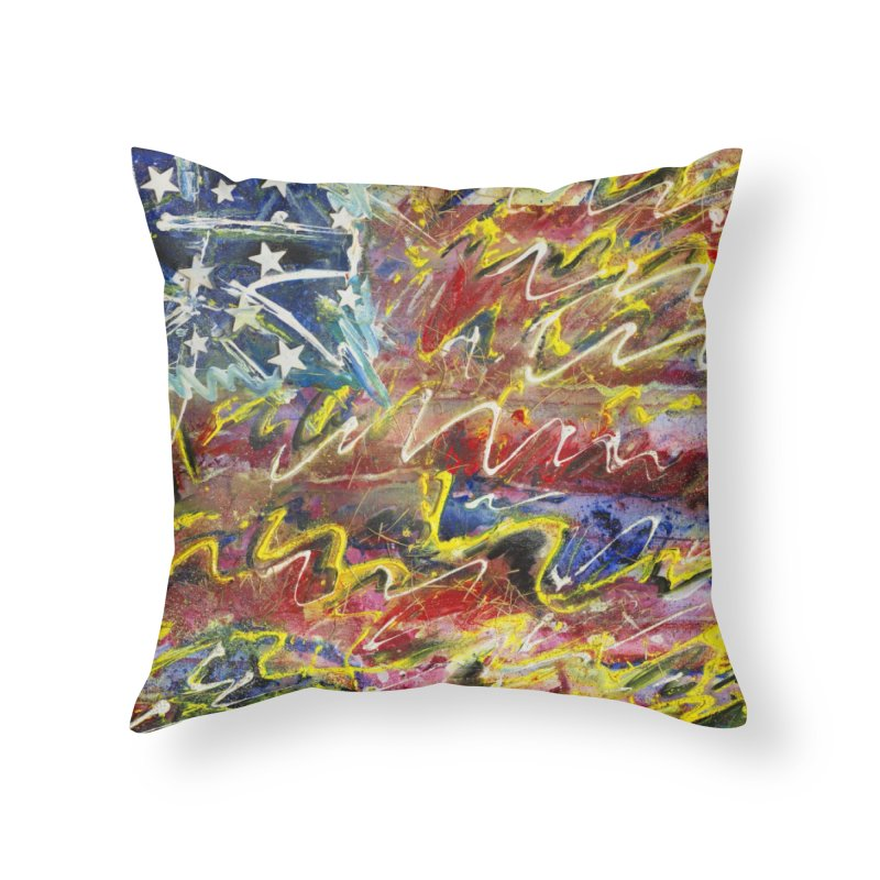 Stars & Stripes Forever Home Throw Pillow by Art By Poli