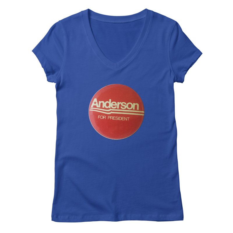 Anderson For President Women's V-Neck by Vintage Political Button Shirts