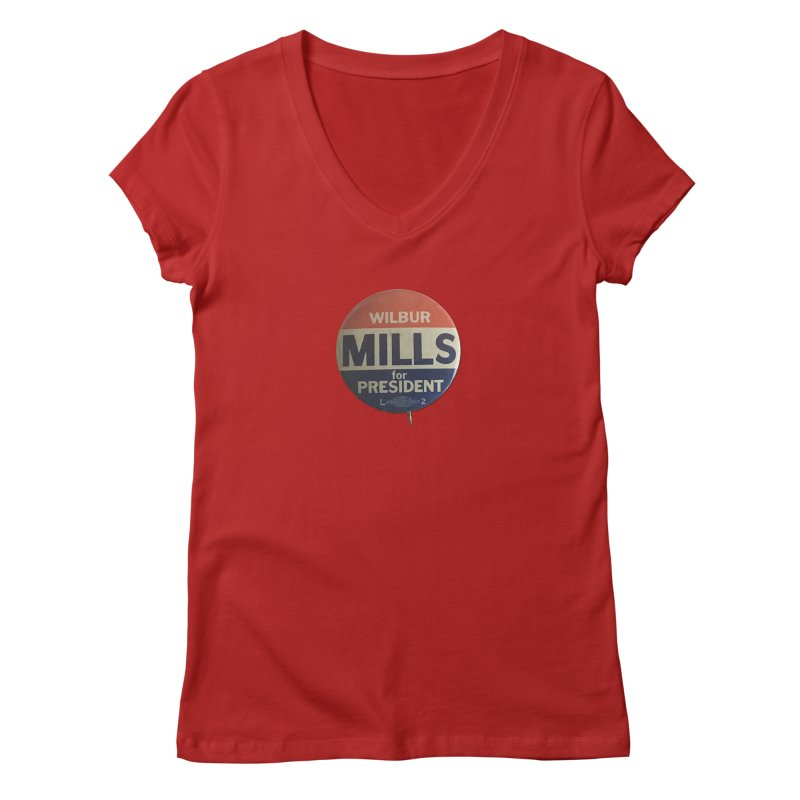 Wilbur Mills for President Women's V-Neck by Vintage Political Button Shirts