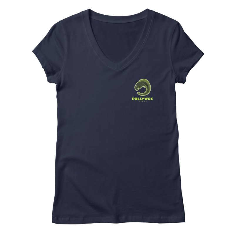 Pollywog Games Logo, Dark Background Women's V-Neck by Pollywog Games Merch