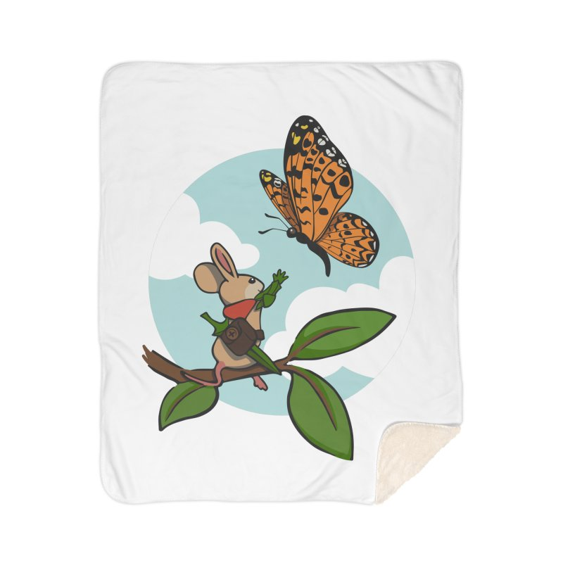 Moss - Quill & Butterfly Home Sherpa Blanket Blanket by polyarc games