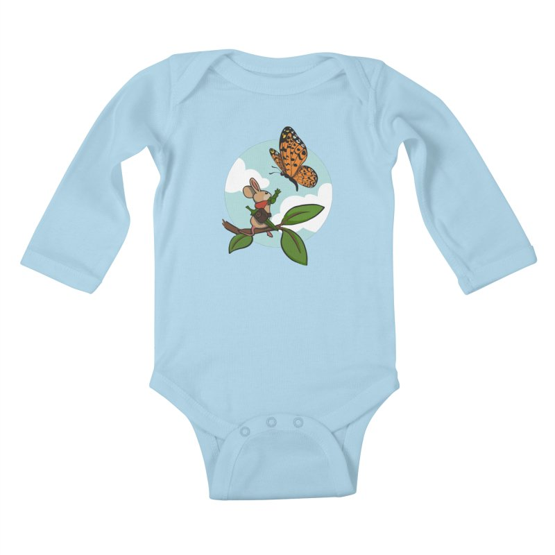 Moss - Quill & Butterfly Kids Baby Longsleeve Bodysuit by polyarc games
