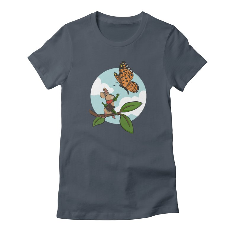 Moss - Quill & Butterfly in Women's Fitted T-Shirt Denim by polyarc games