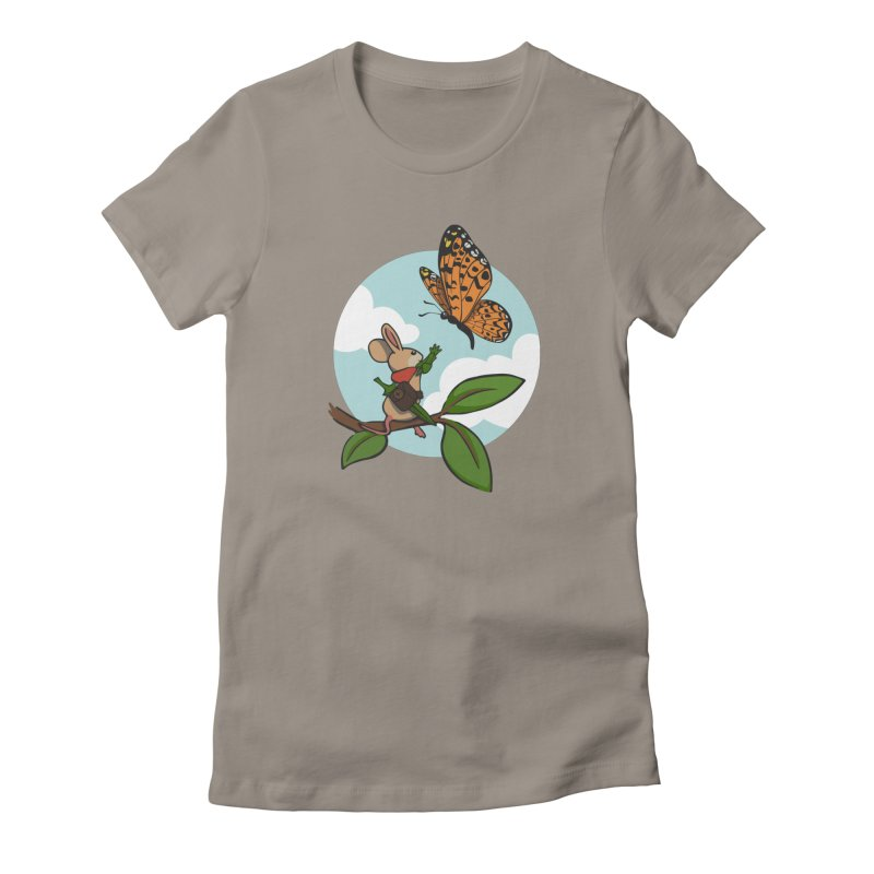 Moss - Quill & Butterfly in Women's Fitted T-Shirt Warm Grey by polyarc games