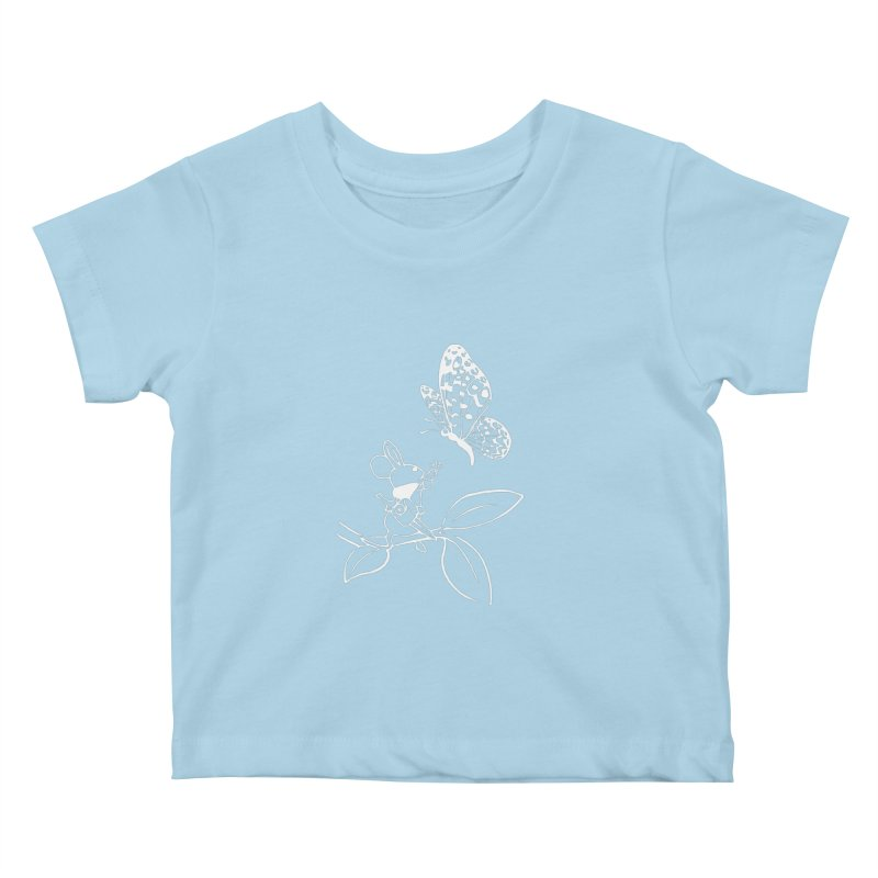 Moss - Quill & Butterfly (Outline) Kids Baby T-Shirt by polyarc games