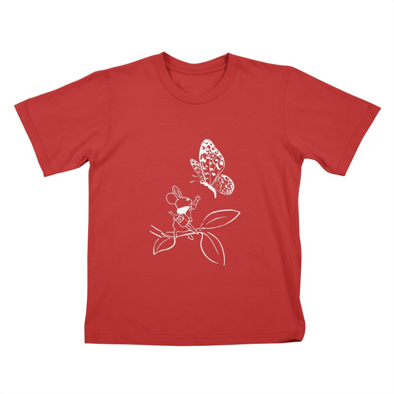 Moss - Quill & Butterfly (Outline) Kids T-Shirt by polyarc games