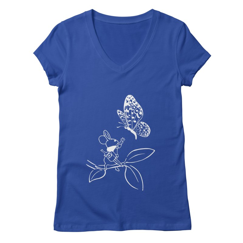 Moss - Quill & Butterfly (Outline) Women's Regular V-Neck by polyarc games